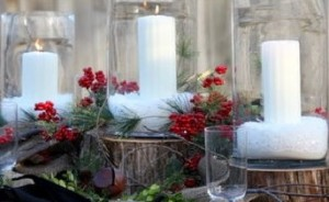 A personalised christmas table centerpiece.